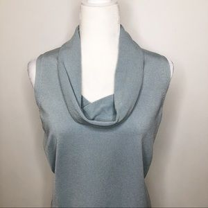 Ann Taylor sleeveless silk blend funnel neck top